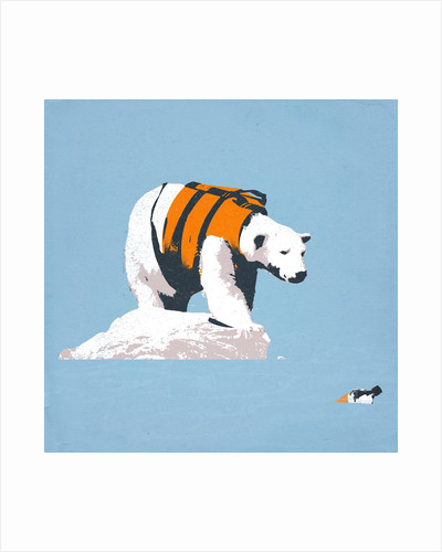 Polar bear in a life jacket by Corbis