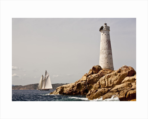 Shenandoah of Sark Schooner Sails Past Sardinia's Monaci Lighthouse on Costa Smeralda by Corbis