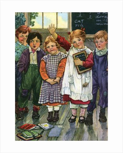 Illustration of children in schoolroom by Clara M. Burd