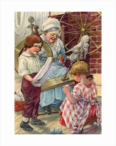 Illustration of children helping grandmother spin wool by Clara M. Burd