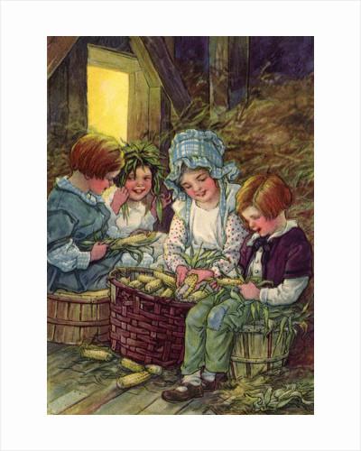 Illustration of children shucking corn by Clara M. Burd
