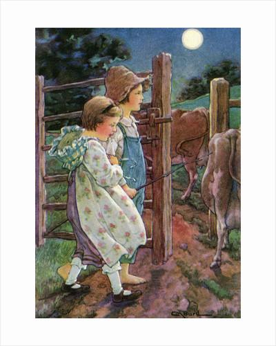 Illustration of children tending cows by Clara M. Burd