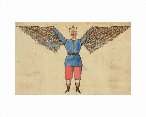 Man with wings attached to tunic by Corbis