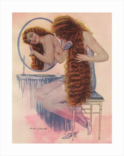 Redheaded woman brushing hair by Corbis