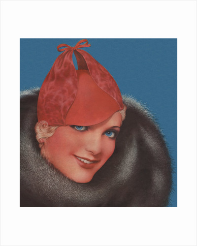 Woman with red hat and fur collar by Corbis