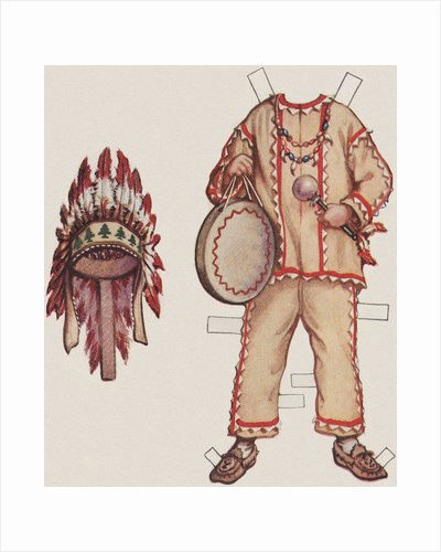 Paper doll with Native American clothes by Corbis