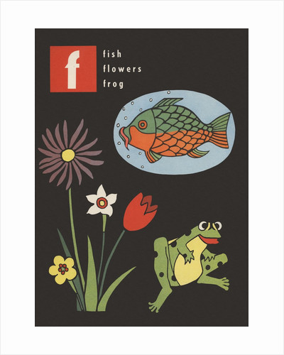 F is for fish flowers frog by Corbis