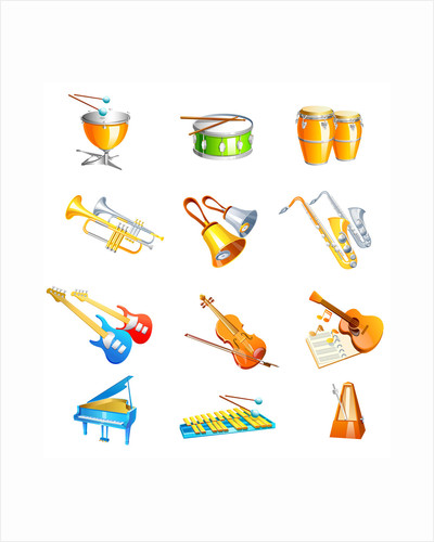 Different types of musical instruments by Corbis