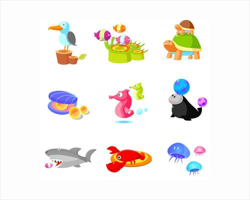 Close-up of various aquatic animals by Corbis