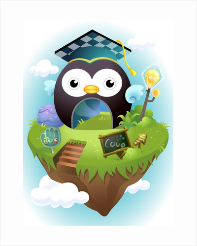 Tunnel in the shape of an owl with a mortar board by Corbis