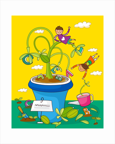 Children playing with potted plants by Corbis