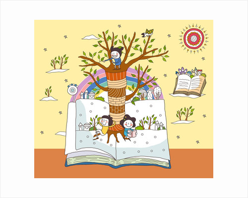 Children on open book by tree trunk by Corbis