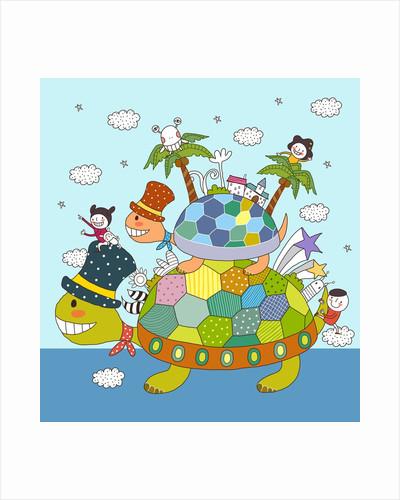 Children enjoying on tortoise back by Corbis