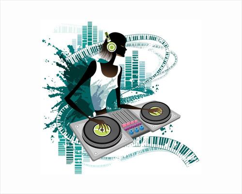 Young woman Dj Using Turntable in Nightclub by Corbis