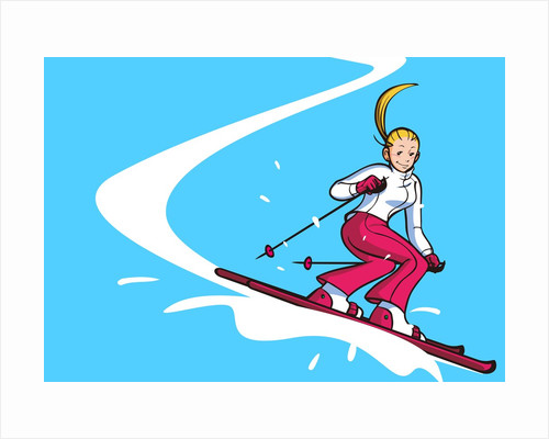 Low angle view of a woman skiing by Corbis