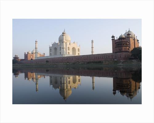 Reflection of a mausoleum in water, Taj Mahal, Agra, Uttar Pradesh, India by Corbis