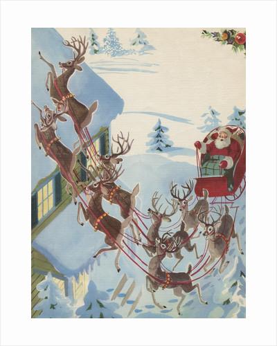 Reindeer pulling Santa Claus in sleigh by Corbis