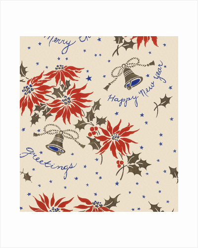 Happy new year pattern with flowers and bells by Corbis