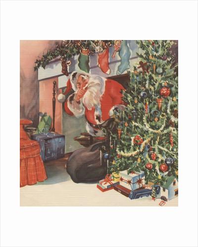 Santa Claus delivering presents by Corbis