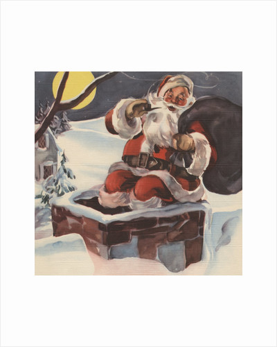 Santa Claus going down chimney with sack of toys by Corbis