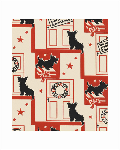 Do not open until Christmas pattern with dog by Corbis