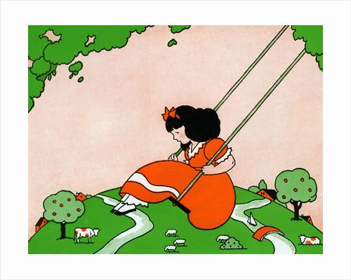 Girl on swing by Corbis