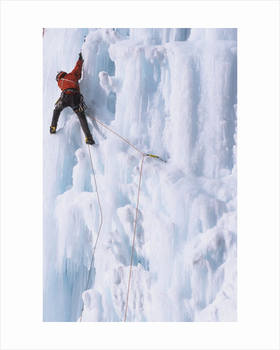 An Ice Climber Ascending the Malignant Mushroom, WI 5, Ghost River, Alberta, Canada by Corbis