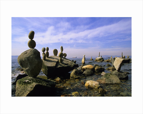 Balanced Rocks Along Seawall, Stanley Park, Vancouver, British Columbia, Canada. by Corbis