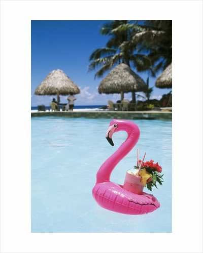 Cook Islands, South Pacific, Rarotonga, Tropical Drink in Pink Flamingo Float by Corbis