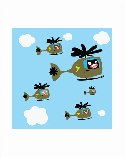 Monsters flying helicopters by Corbis
