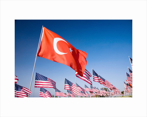 Turkish and American flags during 3000 Flags for 9-11 tribute by Corbis