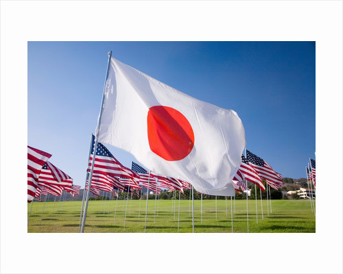 Japanese and Americans flags during 3000 Flags for 9-11 tribute by Corbis