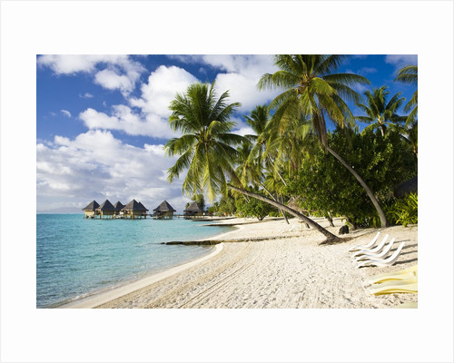 Huts at Matira Beach, Bora Bora Island by Corbis