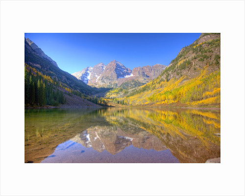 Maroon Bells with changing aspen leaves, Aspen, Colorado by Corbis