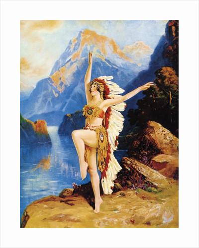 Caucasian dancer dressed as Native American by Corbis