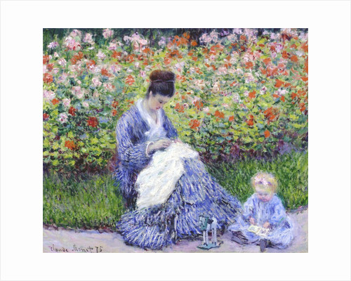 Camille Monet and a Child in the Artist's Garden in Argenteuil?? by Claude Monet