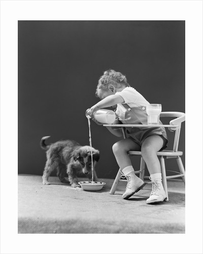 Toddler sitting in chair pouring milk from bottle into bowl for puppy dog by Corbis