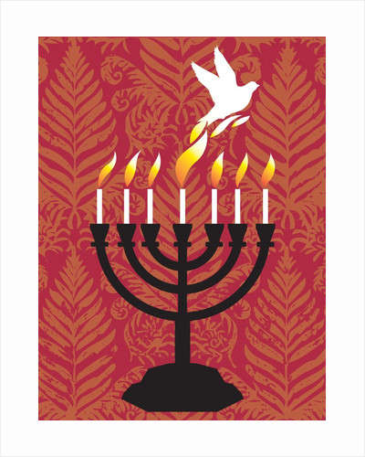 A dove rising from the candles of a menorah by Corbis