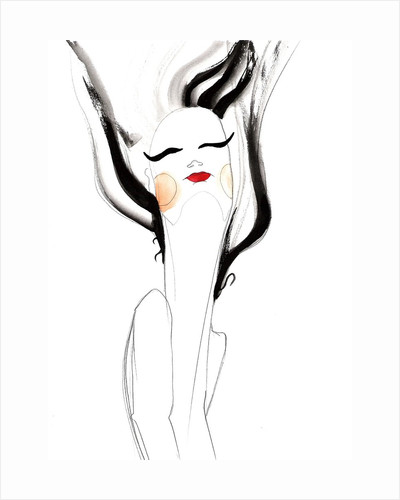 A woman with black hair blowing upwards by Corbis