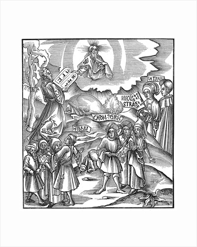 Moses receiving the tablets of the Law from God by Corbis
