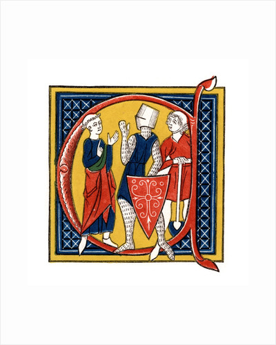 Initial letter C with three classes of Medieval men by Corbis