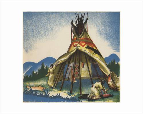 Women setting up Plains tepee by Corbis