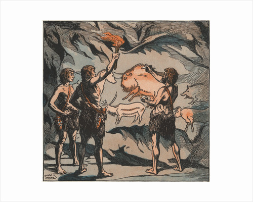 Prehistoric men with cave paintings by Corbis