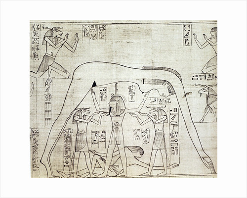 Detail of Greenfield Papyrus with Shu, the god of air, supporting the sky goddess, Nut by Corbis