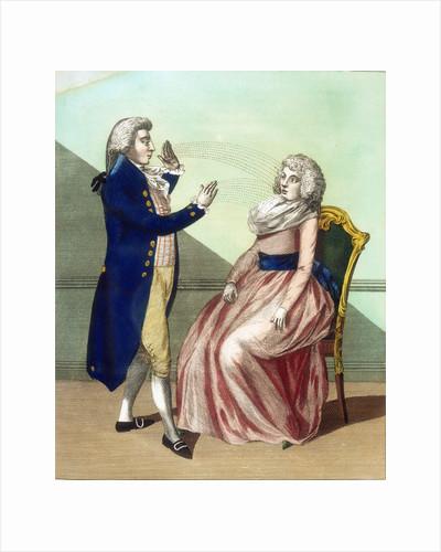 Hypnotist mesmerising a patient by Corbis