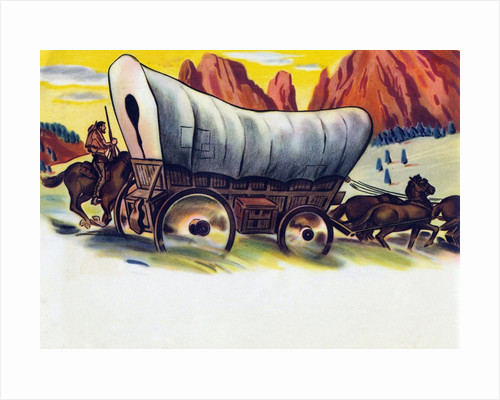 Covered wagon crossing American plains by Corbis