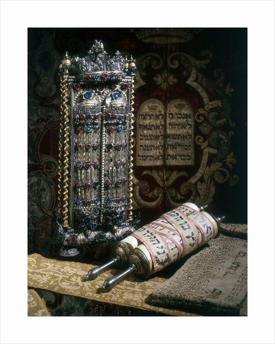 Scrolls of the Torah, Torah cover and the Ten Commandments by Corbis