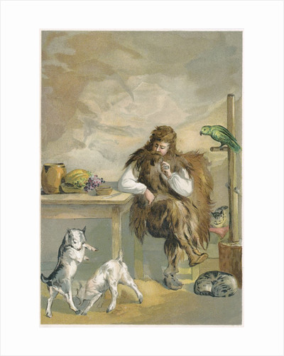 Robinson Crusoe with his animals by Corbis