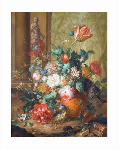 Tulips, roses and other flowers in a classical urn overturned by a cat chasing a mouse, with a statue of Flora beyond by Johannes Christianus Roedig