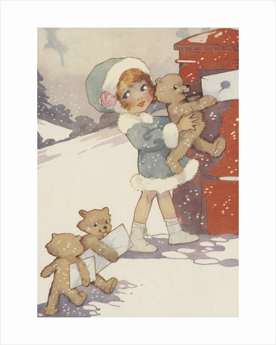 Illustration of girl and teddy bears mailing letters by Corbis